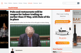 Pubs and restaurants to reopen for indoor trading no earlier than 17 May