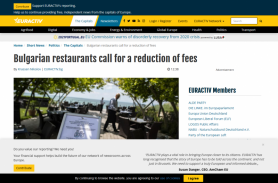 Bulgarian restaurants call for a reduction of fees