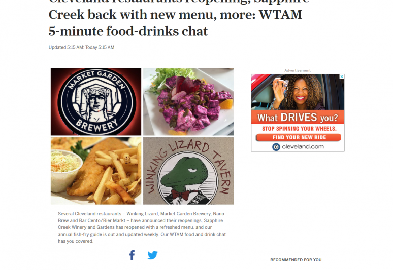 Cleveland restaurants reopening, Sapphire Creek back with new menu, more: WTAM 5-minute food-drinks chat