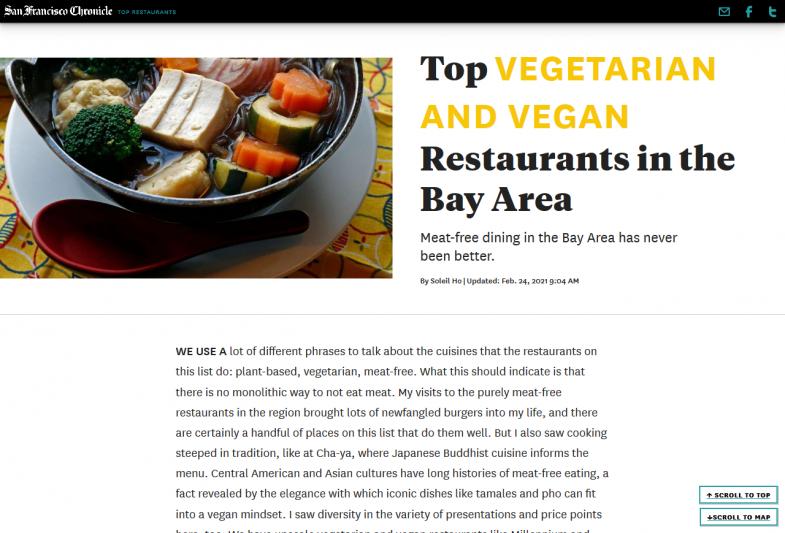 Top Vegetarian and Vegan Restaurants in the Bay Area