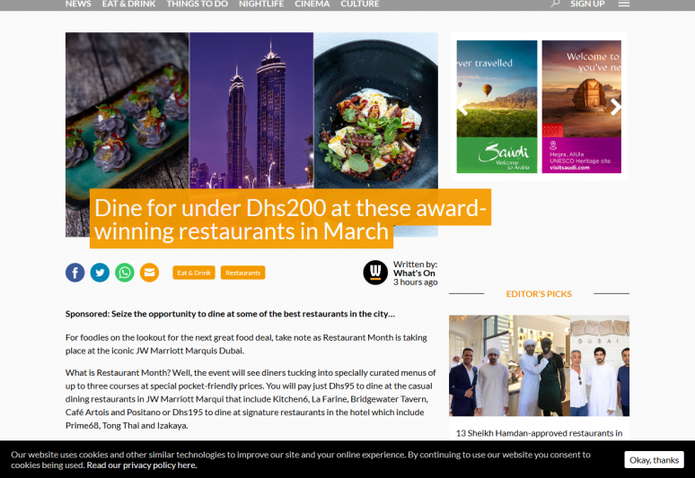 Dine for under Dhs200 at these award-winning restaurants in March