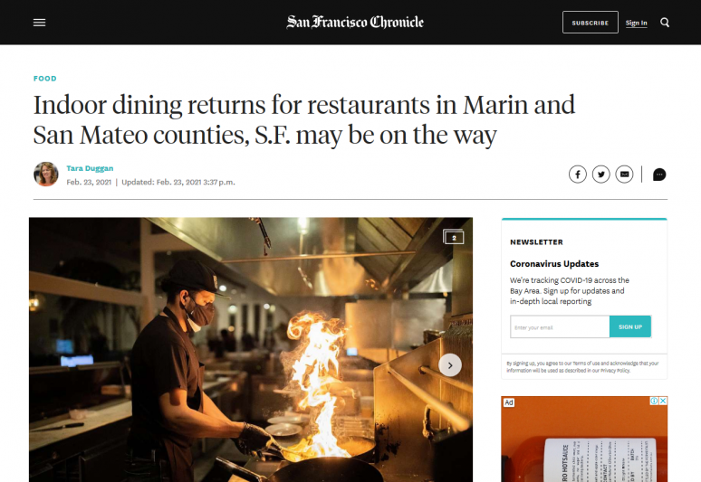 Indoor dining returns for restaurants in Marin and San Mateo counties, S.F. may be on the way