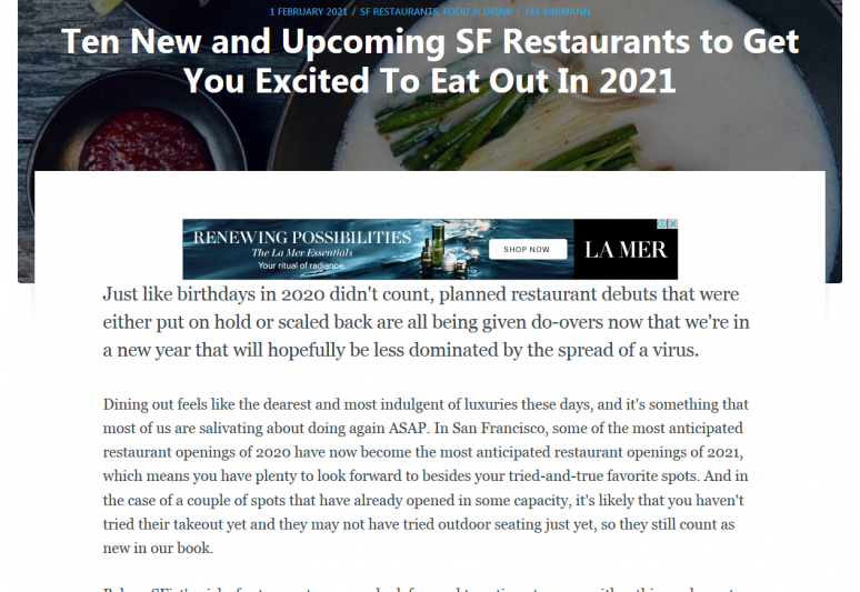 Ten New and Upcoming SF Restaurants to Get You Excited To Eat Out In 2021
