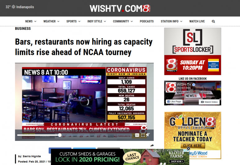 Bars, restaurants now hiring as capacity limits rise ahead of NCAA tourney
