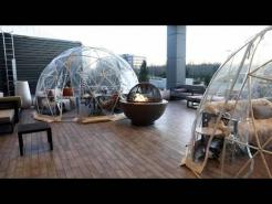 Outdoor igloo dining at  N.J. hotel