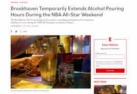 Brookhaven Temporarily Extends Alcohol Pouring Hours During the NBA All-Star Weekend