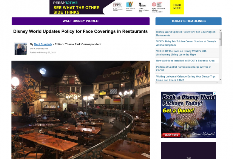 Disney World Updates Policy for Face Coverings in Restaurants