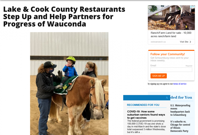 Lake & Cook County Restaurants Step Up and Help Partners for Progress of Wauconda
