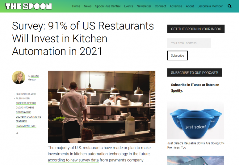 Survey: 91% of US Restaurants Will Invest in Kitchen Automation in 2021