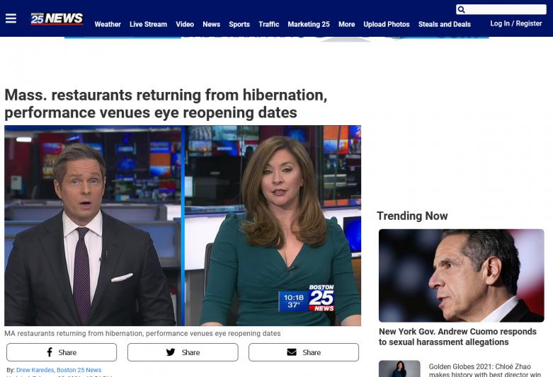 Mass. restaurants returning from hibernation, performance venues eye reopening dates