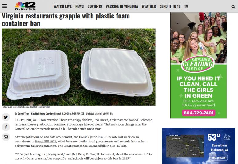 Virginia restaurants grapple with plastic foam container ban