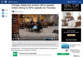 Chicago restaurant owners call to expand indoor dining to 50% capacity by Thursday