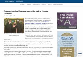Restaurant News brief: Real estate agent raising funds for Edmonds restaurants