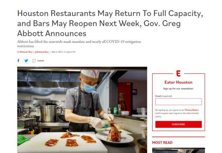 Houston Restaurants May Return To Full Capacity, and Bars May Reopen Next Week, Gov. Greg Abbott Announces