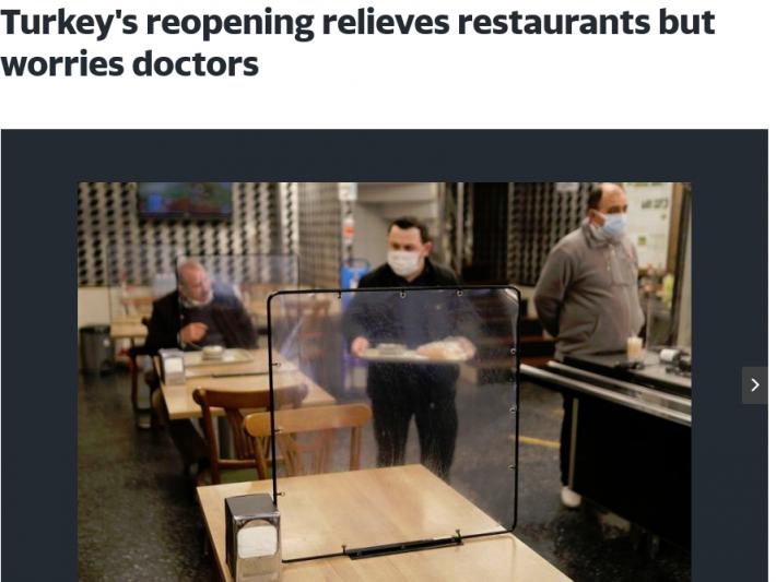 Turkey's reopening relieves restaurants but worries doctors