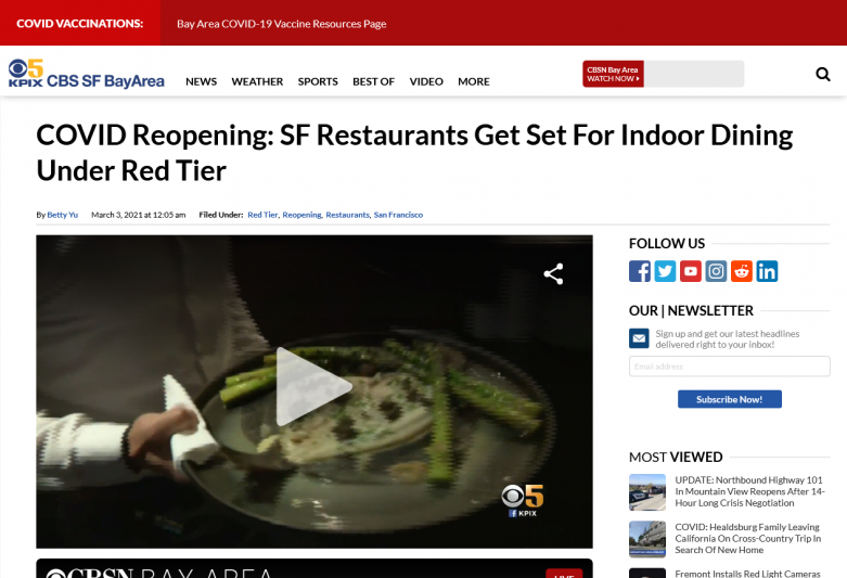 COVID Reopening: SF Restaurants Get Set For Indoor Dining Under Red Tier