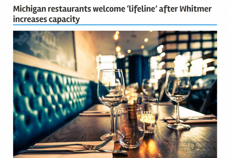 Michigan restaurants welcome 'lifeline' after Whitmer increases capacity | Bridge Michigan