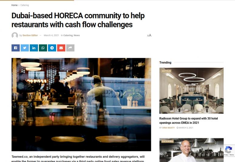 Dubai-based HORECA community to help restaurants with cash flow challenges