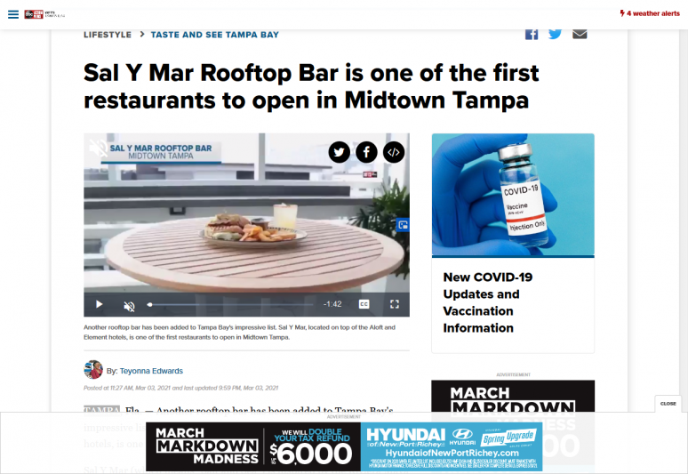 Sal Y Mar Rooftop Bar is one of the first restaurants to open in Midtown Tampa