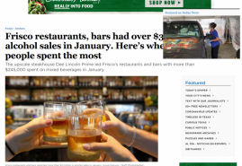 Frisco restaurants, bars had over $3M in alcohol sales in January. Here's where people spent the most