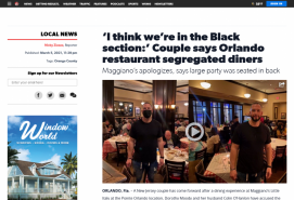 'I think we're in the Black section:' Couple says Orlando restaurant segregated diners