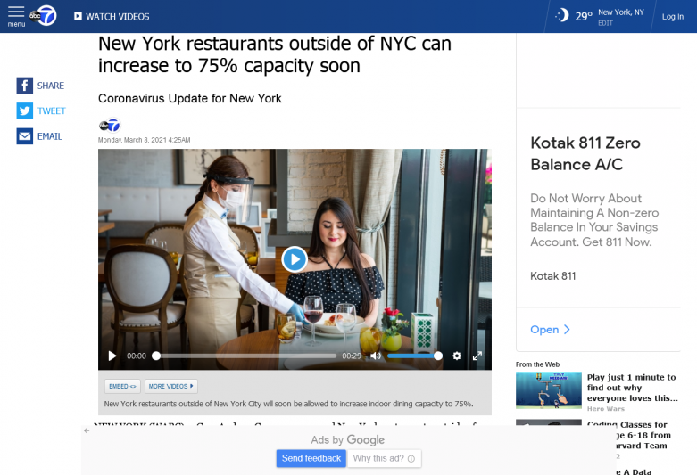 New York restaurants outside of NYC can increase to 75% capacity soon