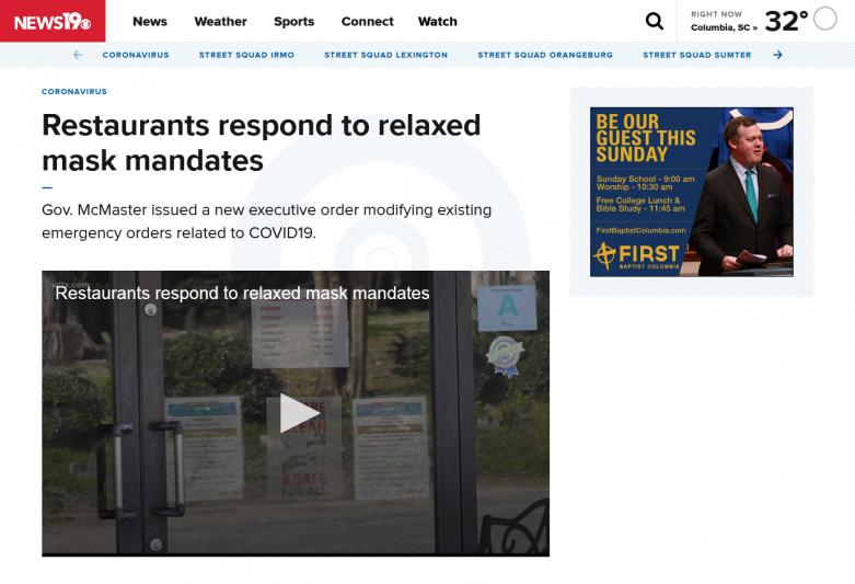 Restaurants respond to relaxed mask mandates