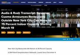 Audio & Rush Transcript: Governor Cuomo Announces Restaurants Outside New York City Can Move to 75 Percent Indoor Capacity Starting March 19