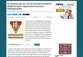 BJ's Restaurants, Inc. to Post Q2 2022 Earnings of $0.80 Per Share, Oppenheimer Forecasts (NASDAQ:BJRI)