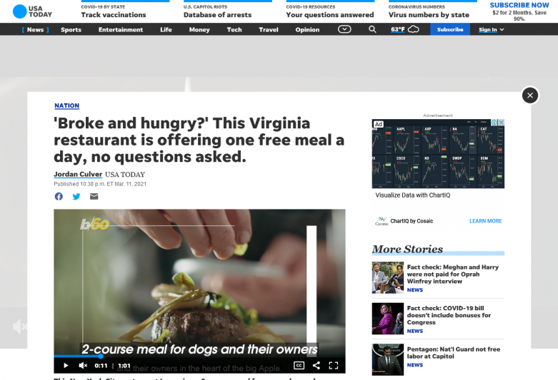 'Broke and hungry?' This Virginia restaurant is offering one free meal a day, no questions asked.