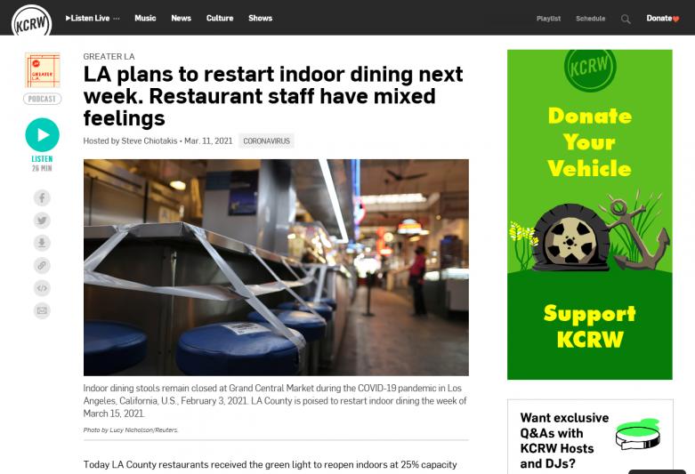 LA plans to restart indoor dining next week. Restaurant staff have mixed feelings