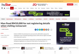 Man fined RM10,000 for not registering details when visiting restaurant