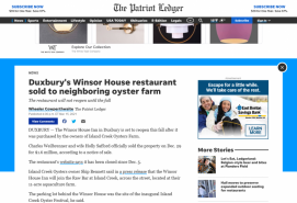 Duxbury's Winsor House restaurant sold to neighboring oyster farm