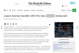 Liquor license transfer OK'd for new Vernon restaurant