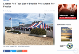 Lobster Roll Tops List of Best NY Restaurants For Foodies