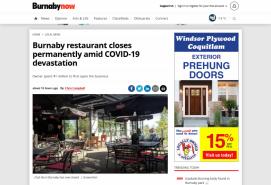 Burnaby restaurant closes permanently amid COVID-19 devastation