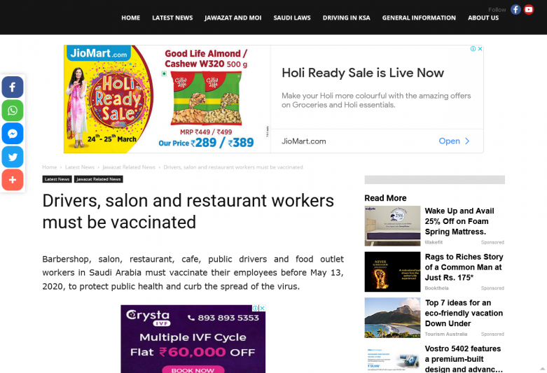Drivers, salon and restaurant workers must be vaccinated