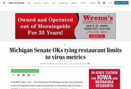 Michigan Senate OKs tying restaurant limits to virus metrics