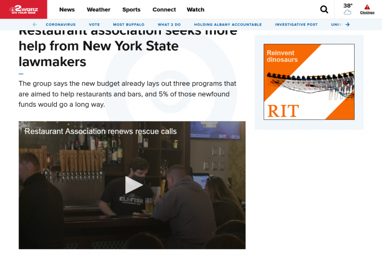 Restaurant association seeks more help from New York State lawmakers