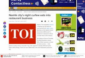 Nashik city's night curfew eats into restaurant business