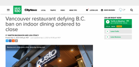 Vancouver restaurant defying B.C. ban on indoor dining ordered to close