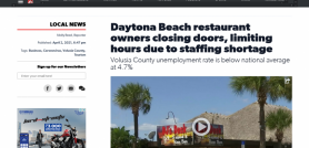 Daytona Beach restaurant owners closing doors, limiting hours due to staffing shortage