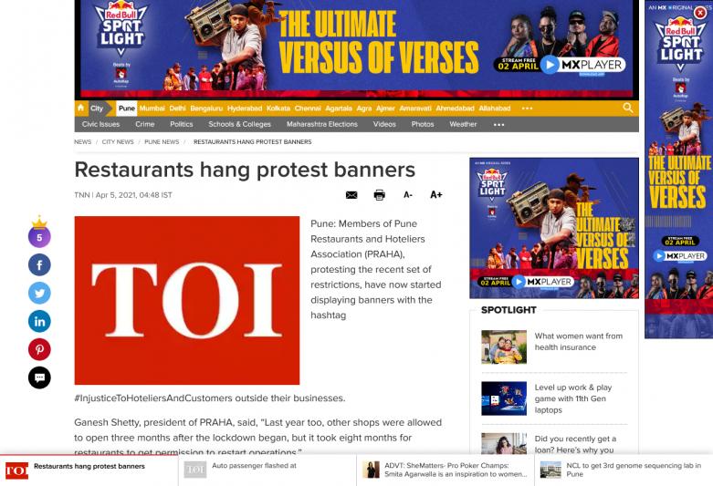 Restaurants hang protest banners