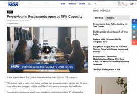 Pennsylvania Restaurants open at 75% Capacity