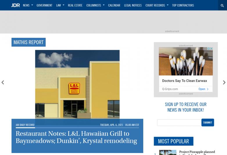 Restaurant Notes: L&L Hawaiian Grill to Baymeadows; Dunkin', Krystal remodeling