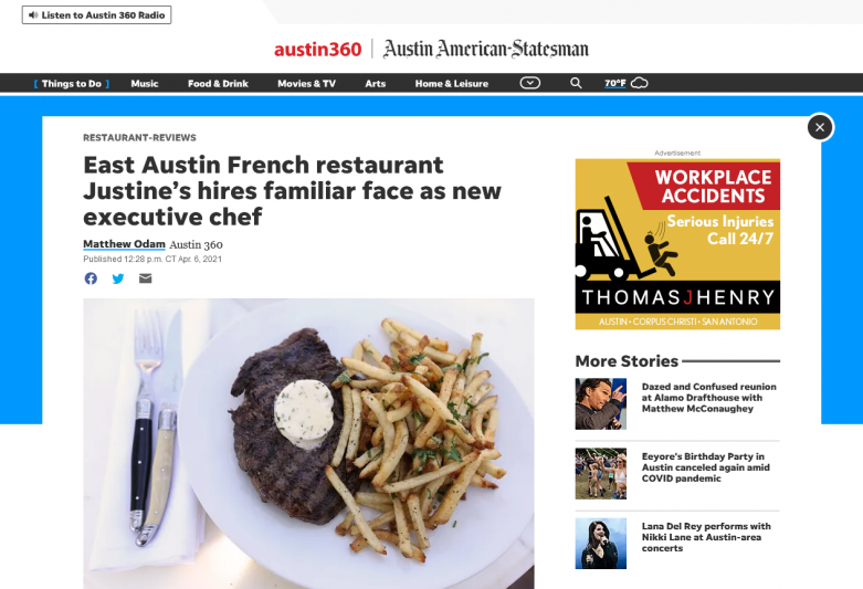 East Austin French restaurant Justine's hires familiar face as new executive chef