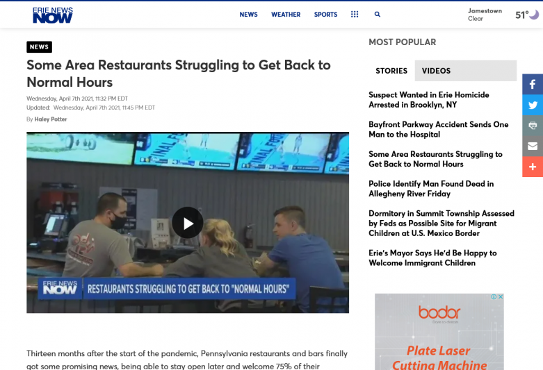 Some Area Restaurants Struggling to Get Back to Normal Hours