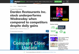 Darden Restaurants Inc. stock underperforms Wednesday when compared to competitors despite daily gains