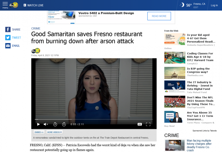 Good Samaritan saves Fresno restaurant from burning down after arson attack