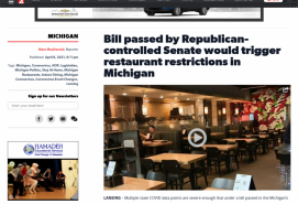 Bill passed by Republican-controlled Senate would trigger restaurant restrictions in Michigan